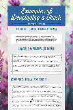 Examples of Developing a Thesis
