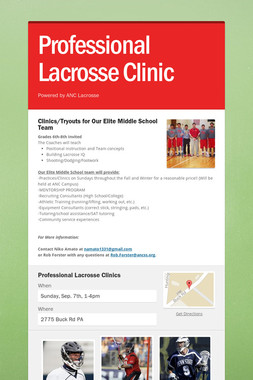 Professional Lacrosse Clinic