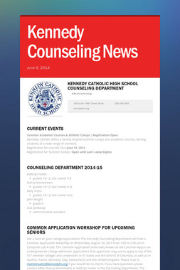 Kennedy Counseling News