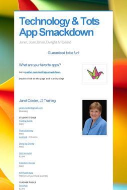Technology & Tots App Smackdown