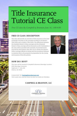 Title Insurance Tutorial CE Class