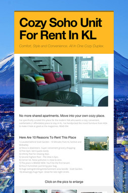 Cozy Soho Unit For Rent In KL