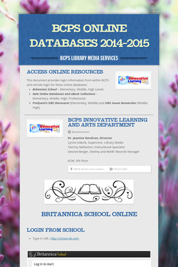 BCPS Online Databases 2014-2015