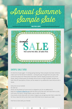 Annual Summer Sample Sale