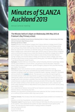 Minutes of SLANZA Auckland 2013