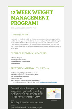 12 WEEK WEIGHT MANAGEMENT PROGRAM!