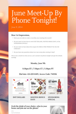 June Meet-Up By Phone Tonight!