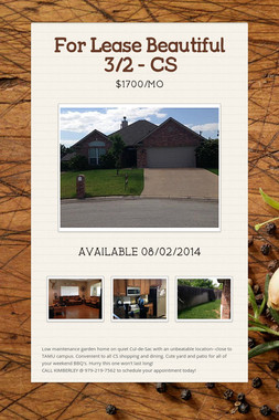 For Lease Beautiful 3/2 - CS