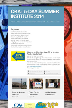 OKA+ 5-DAY SUMMER INSTITUTE 2014