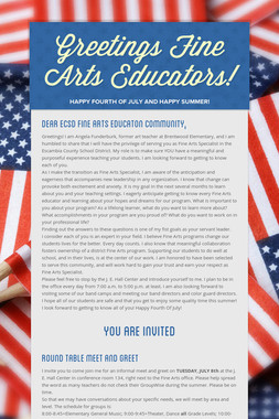 Greetings Fine Arts Educators!