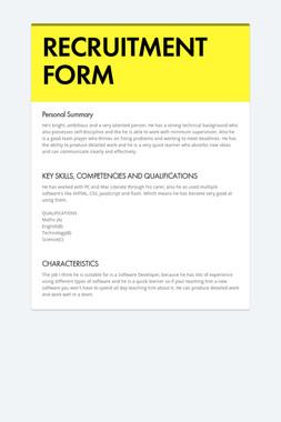 RECRUITMENT FORM