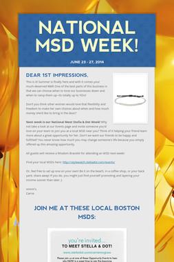 National MSD Week!