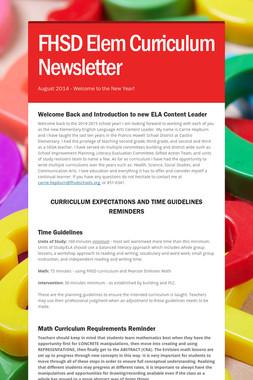FHSD Elem Curriculum Newsletter