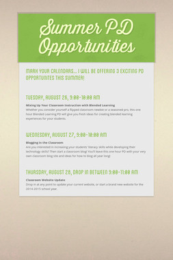 Summer PD Opportunities