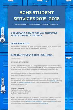BCHS Student Services  2015-2016
