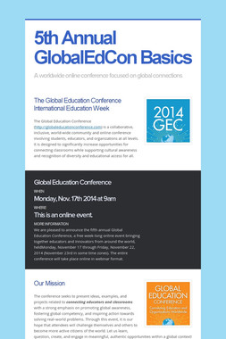 5th Annual GlobalEdCon Basics