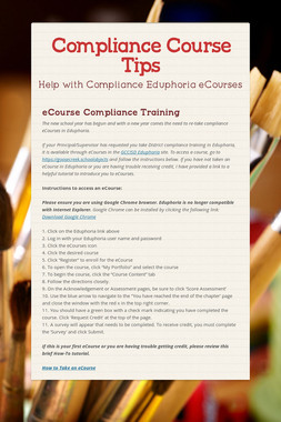 Compliance Course Tips