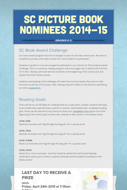SC Picture Book Nominees 2014-15