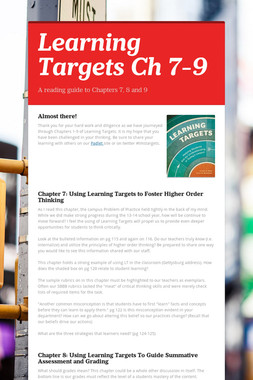 Learning Targets Ch 7-9