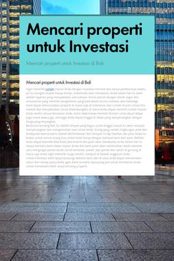 Mencari properti untuk Investasi