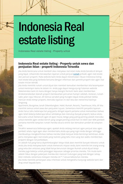 Indonesia Real estate listing