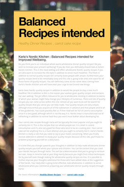 Balanced Recipes intended