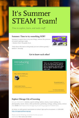 It's Summer STEAM Team!
