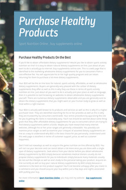 Purchase Healthy Products