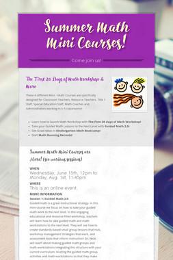 Summer Math Mini Courses!