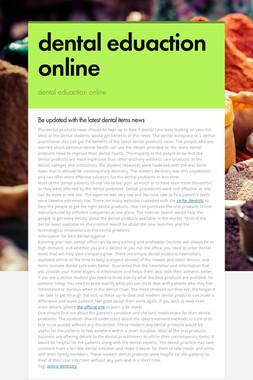 dental eduaction online