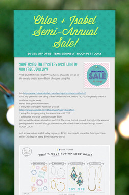 Chloe + Isabel Semi-Annual Sale!