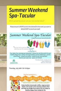 Summer Weekend Spa-Tacular