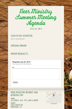 Peer Ministry Summer Meeting Agenda