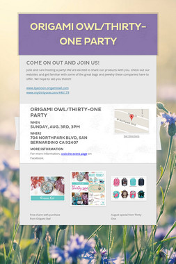 Origami Owl/Thirty-One Party