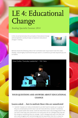 LE 4: Educational Change