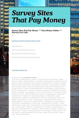 Survey Sites That Pay Money