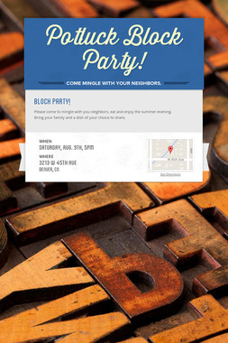 Potluck Block Party!