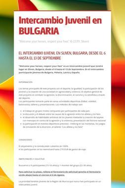Intercambio Juvenil en BULGARIA