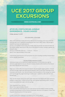 UCE 2017 Group Excursions