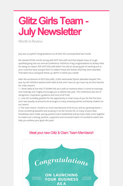Glitz Girls Team - July Newsletter