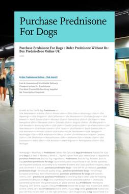 Purchase Prednisone For Dogs