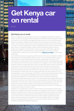 Get Kenya car on rental