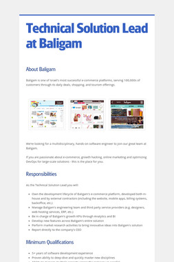 Technical Solution Lead at Baligam