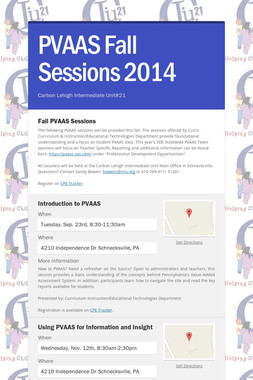 PVAAS Fall Sessions 2014