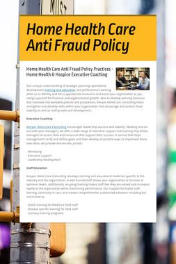 Home Health Care Anti Fraud Policy