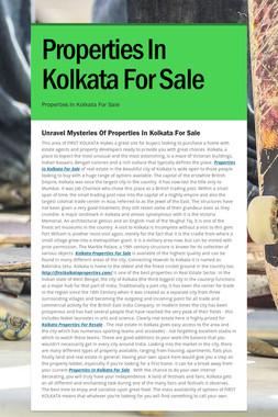 Properties In Kolkata For Sale