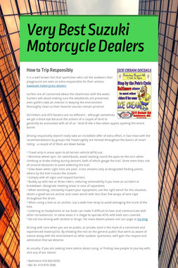 Very Best Suzuki Motorcycle Dealers