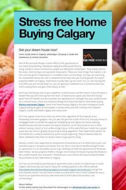 Stress free Home Buying Calgary
