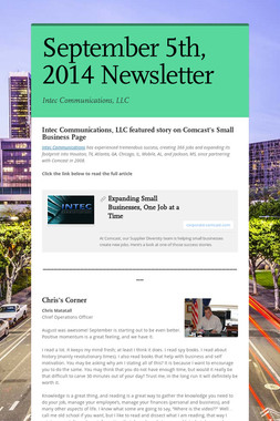 September 5th, 2014 Newsletter