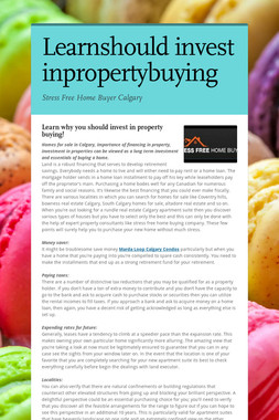 Learnshould invest inpropertybuying